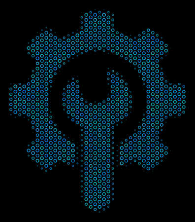 Halftone Service tools mosaic icon of circle bubbles in blue color tinges on a black background. Vector circle items are composed into service tools illustration.