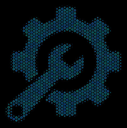 Halftone Service tools composition icon of spheric bubbles in blue color tinges on a black background. Vector round spheres are united into service tools composition.