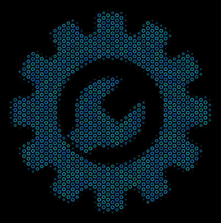Halftone Service tools composition icon of spheres in blue shades on a black background. Vector round spheres are united into service tools composition. Ilustrace