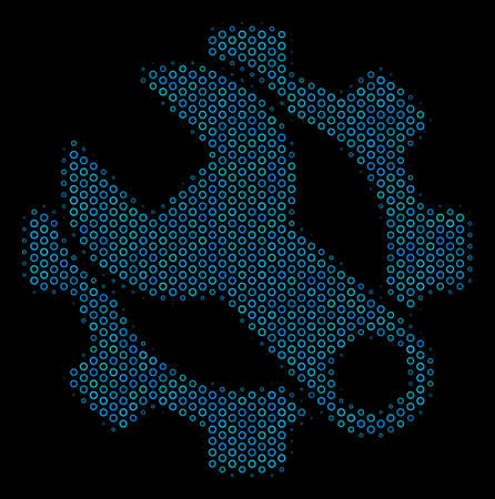 Halftone Service tools collage icon of spheres in blue shades on a black background. Vector round spheres are united into service tools mosaic.