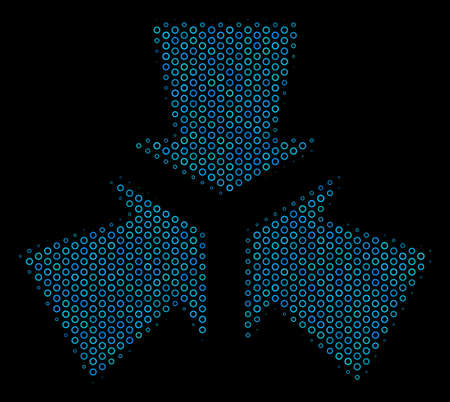 Halftone Shrink arrows composition icon of spheric bubbles in blue color tints on a black background. Vector spheric points are united into shrink arrows composition.