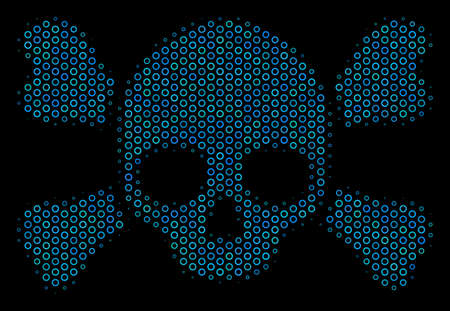 Halftone Skull crossbones mosaic icon of circle bubbles in blue color tinges on a black background. Vector circle bubbles are grouped into skull crossbones mosaic.