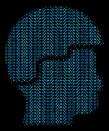 Halftone Soldier helmet mosaic icon of circle elements in blue color hues on a black background. Vector circle items are arranged into soldier helmet mosaic.