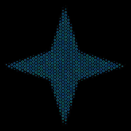 Halftone Space star composition icon of spheres in blue color tones on a black background. Vector round spheres are composed into space star composition. Çizim