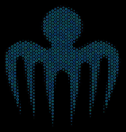 Halftone Spectre octopus collage icon of circle elements in blue shades on a black background. Vector circle bubbles are grouped into spectre octopus composition. Illustration