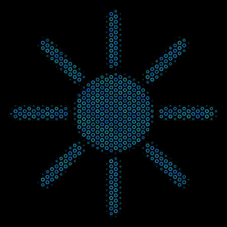 Halftone Sun mosaic icon of spheric bubbles in blue color tones on a black background. Vector spheric parts are grouped into sun composition.