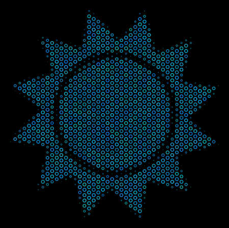 Halftone Sun mosaic icon of empty circles in blue color tints on a black background. Vector empty circles are grouped into sun mosaic. Ilustração