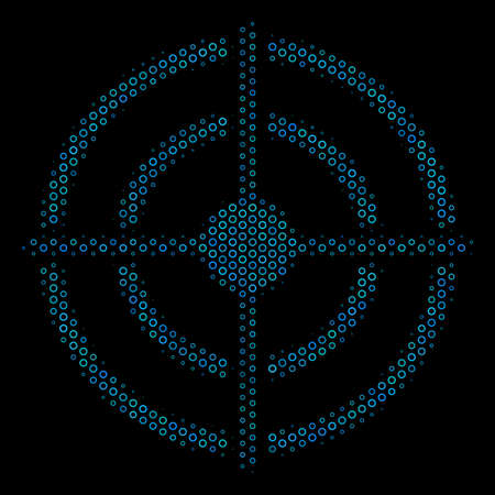 Halftone Target bullseye collage icon of circle bubbles in blue color tones on a black background. Vector circle bubbles are grouped into target bullseye collage.