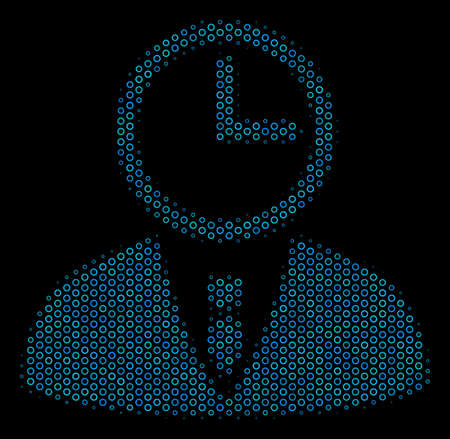 Halftone Time manager collage icon of empty circles in blue color tints on a black background. Vector circle bubbles are organized into time manager collage. Illustration