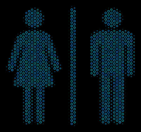 Halftone Toilet persons composition icon of circle elements in blue color tints on a black background. Vector circle bubbles are grouped into toilet persons composition.