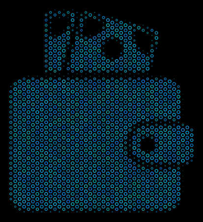 Halftone Wallet composition icon of circle elements in blue color tones on a black background. Vector contour donuts are arranged into wallet composition.