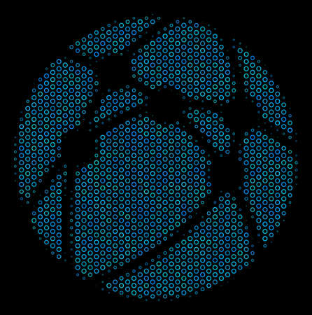 Halftone Web browser composition icon of empty circles in blue color tints on a black background. Vector contour donuts are organized into web browser composition.