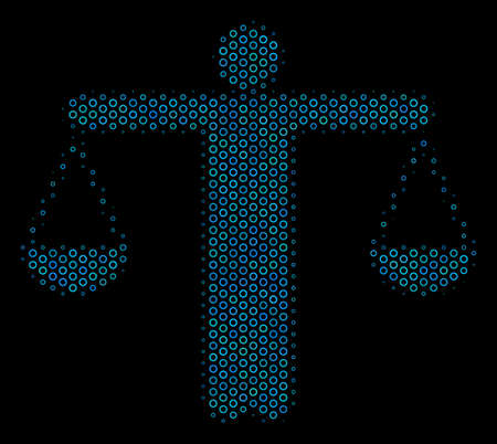 Halftone Weight comparing person composition icon of empty circles in blue color tones on a black background. Vector bubble spheres are combined into weight comparing person composition.