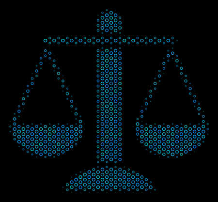 Halftone Weight scales composition icon of empty circles in blue color tones on a black background. Vector spheric dots are arranged into weight scales composition.