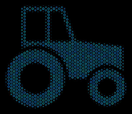 Halftone Wheeled tractor mosaic icon of circle bubbles in blue color tones on a black background. Vector circle bubbles are arranged into wheeled tractor mosaic.
