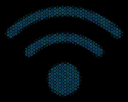 Halftone WiFi collage icon of circle bubbles in blue shades on a black background. Vector circle bubbles are composed into WiFi composition.