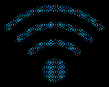 Halftone WiFi source mosaic icon of spheric bubbles in blue color hues on a black background. Vector spheric parts are united into WiFi source collage.