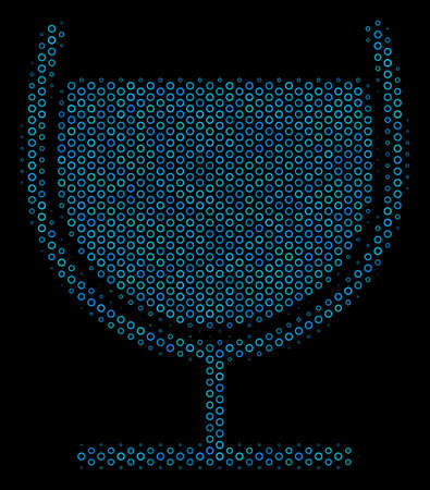 Halftone Wine glass composition icon of empty circles in blue color tones on a black background. Vector spheric points are organized into wine glass composition.
