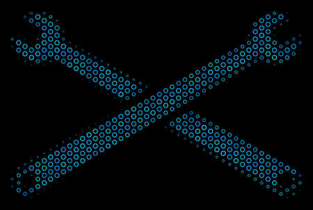 Halftone Wrenches collage icon of spheric bubbles in blue color tones on a black background. Vector spheric points are grouped into wrenches composition.