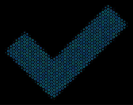 Halftone Yes mosaic icon of spheres in blue shades on a black background. Vector round spheres are organized into yes mosaic. Illustration