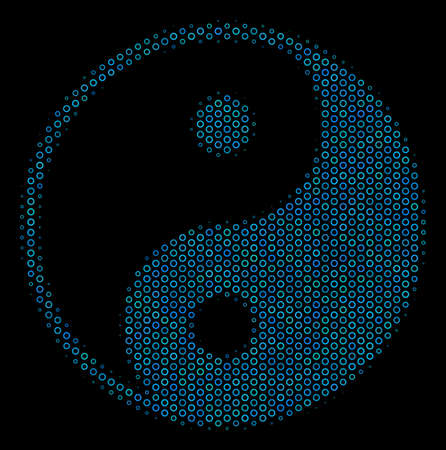Halftone Yin yang collage icon of circle elements in blue color tints on a black background. Vector circle items are combined into yin yang collage.