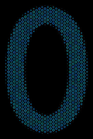 Halftone Zero digit composition icon of empty circles in blue color tinges on a black background. Vector empty circles are organized into zero digit composition.