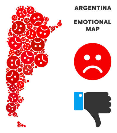 Sorrow Argentina map composition of sad smileys in red colors. Negative mood vector template of crisis regions. Argentina map is formed of red sad icons. Abstract geographic scheme. Illustration