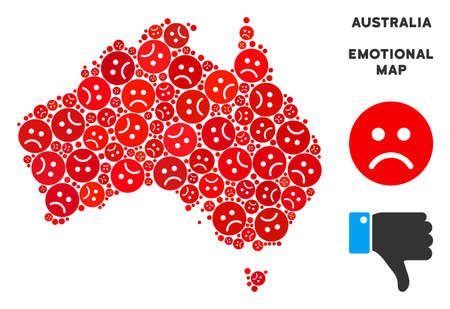Emotion Australia map composition of sad emojis in red colors. Negative mood vector template of crisis regions. Australia map is constructed from red sadness emotion symbols.