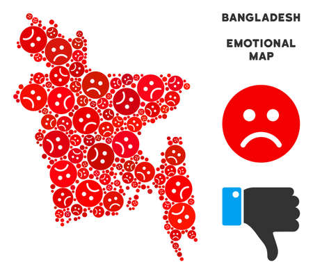 Sorrow Bangladesh map mosaic of sad emojis in red colors. Negative mood vector concept of crisis regions. Bangladesh map is shaped with red sorrow icons. Abstract geographic plan.