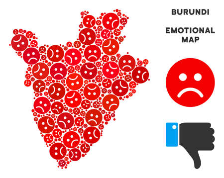 Emotional Burundi map composition of sad smileys in red colors. Negative mood vector concept of crisis regions. Burundi map is formed of red sad icons. Abstract territorial plan.