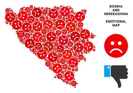Emotional Bosnia and Herzegovina map collage of sad smileys in red colors. Negative mood vector template of depression regions. Bosnia and Herzegovina map is made from red sad emotion symbols.
