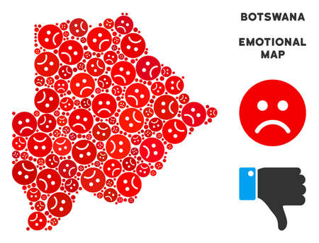 Emotion Botswana map collage of sad smileys in red colors. Negative mood vector concept of crisis regions. Botswana map is formed of red sad icons. Abstract geographic scheme.
