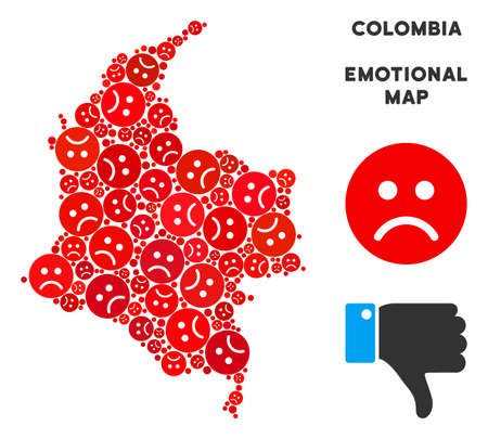 Emotion Colombia map composition of sad smileys in red colors. Negative mood vector template of crisis regions. Colombia map is formed of red sorrow emotion symbols. Abstract territorial plan.