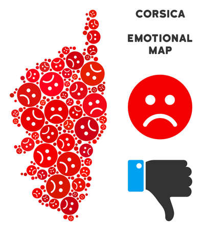 Emotion Corsica France Island map collage of sad emojis in red colors. Negative mood vector concept of crisis regions. Corsica France Island map is shaped with red sorrow emotion symbols.