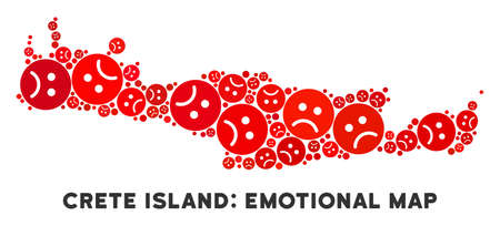Sorrow Crete Island map composition of sad emojis in red colors. Negative mood vector template of crisis regions. Crete Island map is constructed from red sad icons. Abstract territory plan.