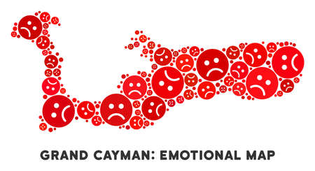 Sorrow Grand Cayman Island map composition of sad emojis in red colors. Negative mood vector concept of depression regions. Grand Cayman Island map is formed of red sad icons.