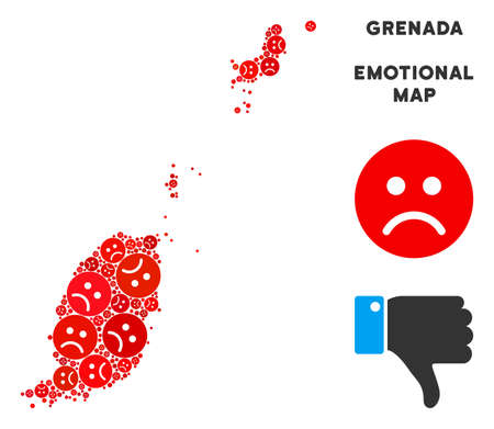 Emotion Grenada map mosaic of sad smileys in red colors. Negative mood vector template of depression regions. Grenada map is composed from red pity emotion symbols. Abstract territory plan. Illustration
