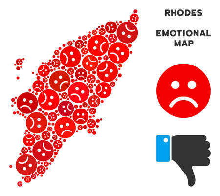 Sorrow Greek Rhodes Island map collage of sad smileys in red colors. Negative mood vector template of depression regions. Greek Rhodes Island map is formed of red sorrow emotion symbols. Ilustração