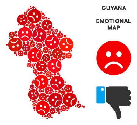 Emotional Guyana map composition of sad emojis in red colors. Negative mood vector template of depression regions. Guyana map is formed of red sad emotion symbols. Abstract territorial plan. Illustration