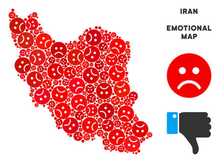 Emotion Iran map collage of sad smileys in red colors. Negative mood vector template of depression regions. Iran map is constructed from red upset emotion symbols. Abstract geographic plan.