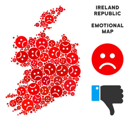 Emotion Ireland Republic map mosaic of sad smileys in red colors. Negative mood vector concept of crisis regions. Ireland Republic map is formed of red unhappy emotion symbols. Abstract area plan.