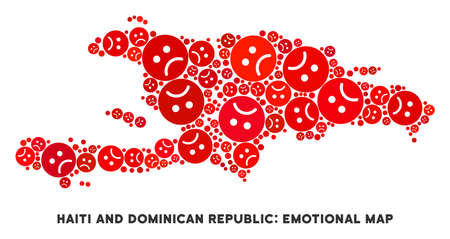 Emotion Haiti and Dominican Republic map collage of sad smileys in red colors. Negative mood vector concept of crisis regions. Haiti and Dominican Republic map is shaped with red sad emotion symbols.