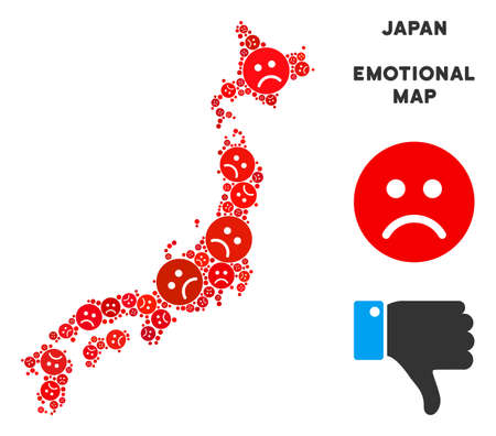 Emotion Japan map composition of sad smileys in red colors. Negative mood vector concept of crisis regions. Japan map is designed with red sad emotion symbols. Abstract geographic scheme.