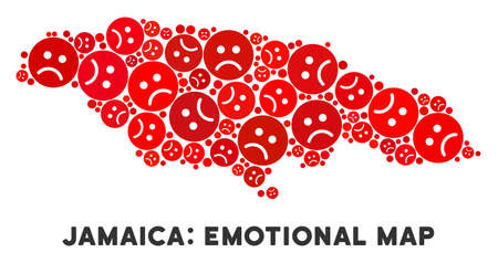 Emotion Jamaica map composition of sad smileys in red colors. Negative mood vector concept of crisis regions. Jamaica map is done with red sorrow emotion symbols. Abstract geographic plan.