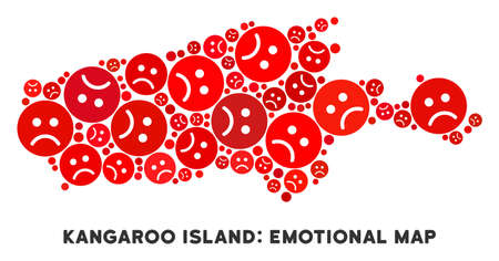 Emotion Kangaroo Island map mosaic of sad emojis in red colors. Negative mood vector concept of depression regions. Kangaroo Island map is shaped with red dolor emotion symbols.