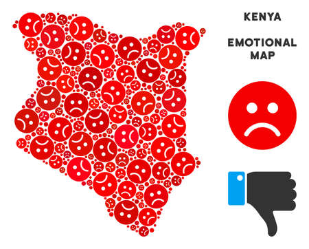 Emotion Kenya map collage of sad smileys in red colors. Negative mood vector concept of crisis regions. Kenya map is formed of red unhappy emotion symbols. Abstract area plan.
