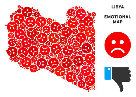 Emotion Libya map collage of sad emojis in red colors. Negative mood vector template of depression regions. Libya map is organized from red sad emotion symbols. Abstract territory plan. Illustration