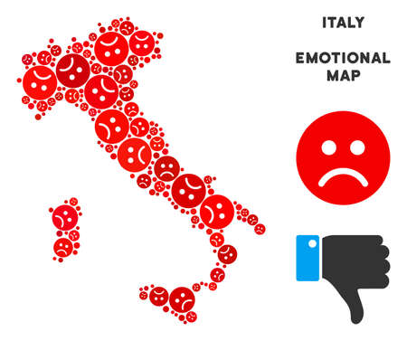 Emotion Italy map composition of sad emojis in red colors. Negative mood vector template of crisis regions. Italy map is shaped with red sad emotion symbols. Abstract territory scheme.