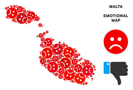 Emotion Malta Island map collage of sad emojis in red colors. Negative mood vector concept of depression regions. Malta Island map is designed with red sad emotion symbols. Abstract territorial plan.