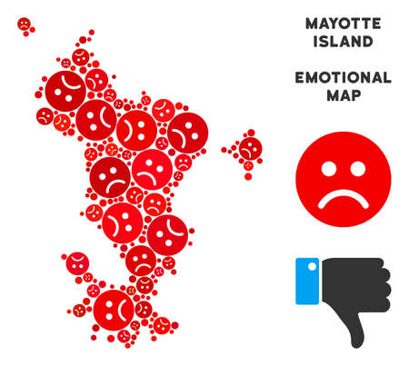 Emotion Mayotte Island map composition of sad smileys in red colors. Negative mood vector concept of depression regions. Mayotte Island map is formed of red upset emotion symbols.